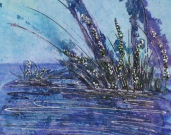 Purple Blue Mixed Media Original Artwork, Impression Purple  Lots of Texture