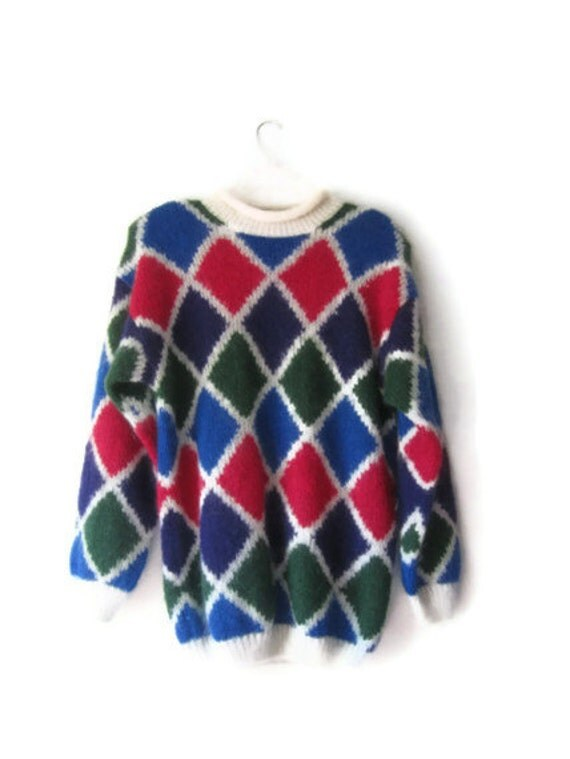 1980's Fuzzy Mohair blend Color Block Oversized Sweater