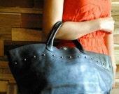 90's Vintage Tote Bag. Rivet. Black leather