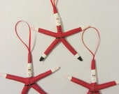 Starfish Santa Ornaments - Set of 3 Santa Ornaments - REAL Starfish