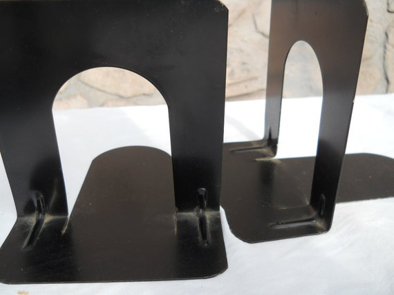 Vintage Library Metal Industrial Bookends 1960s