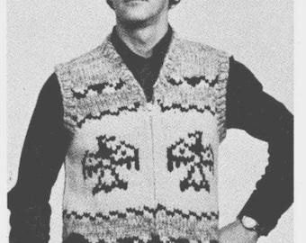 Cowichan Sweater Eagle Wings Vest Knitting Pattern Instant Download on Etsy