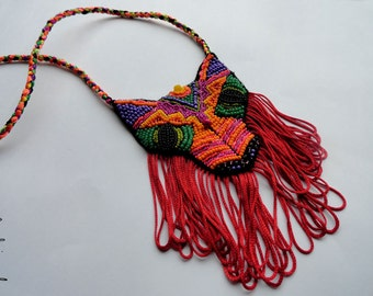 """Neon tribal necklace """"The Brave Fox"""" - MADE TO ORDER"""