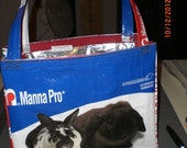 Upcycled rabbit feed bags shopping tote lined with pocket and closure