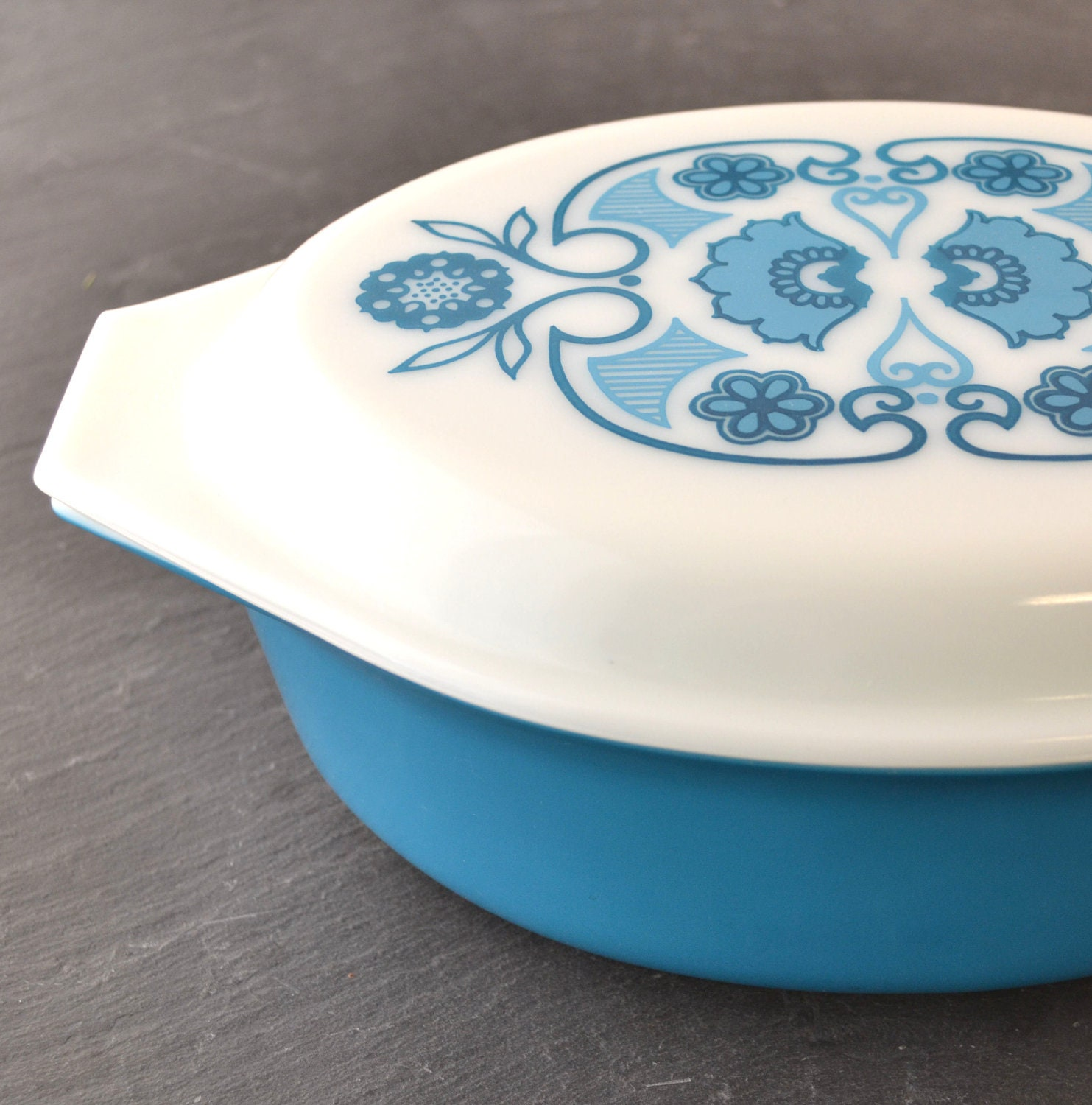 Vintage Pyrex Horizon Blue Pattern Blue Deco Oval By Kolorize