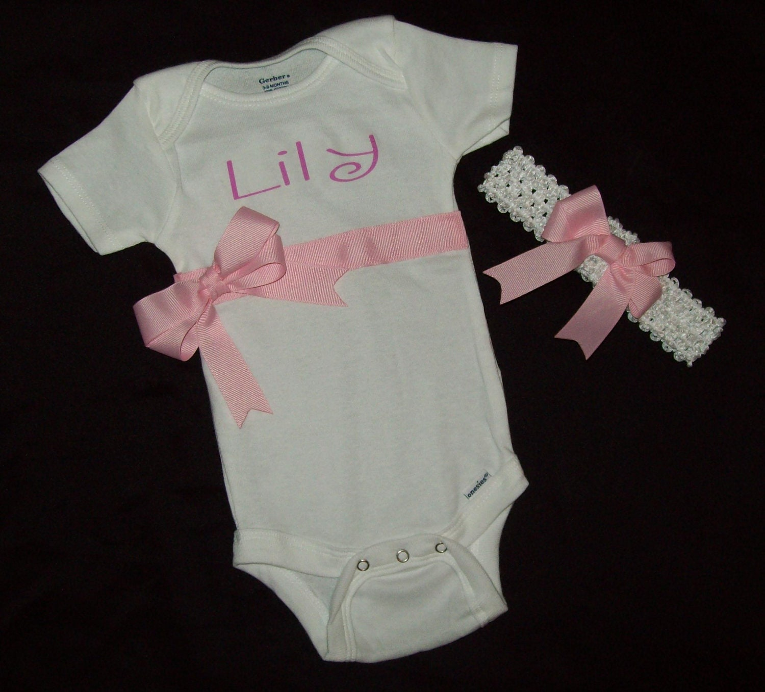 Personalized Baby Gift Sets : Embroidered baby gift set personalized one piece bodysuit