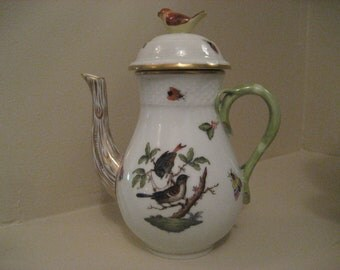Antique HEREND Porcelain China Rothschild Bird Miniature Coffee Tea Pot Hand Painted 24KT Gold Collectable Holiday Gift