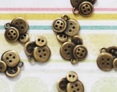 8 Bronze Button Charms - Antique Bronze - 15x14mm - Ships IMMEDIATELY from California - BC68