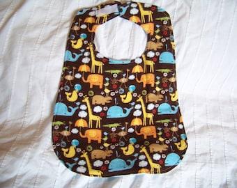 100% Cotton Flannel Baby Bib - Animals - Brown, Blue, White, Yellow, Orange, Red and Tan - Reversable