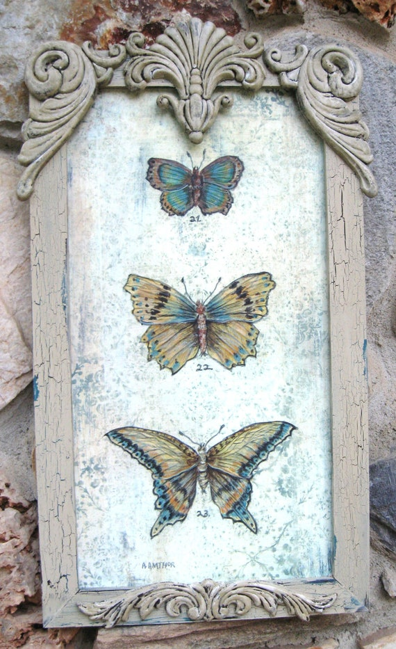 "Butterfly Art Vintage Butterflies Specimen Print Shabby Chippy Framed Butterfly Painting Home Decor 10 3/4"" x 18"" Original Art Print"