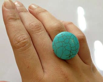Summer Fun Turquoise, Copper Wire-Wrapped Cocktail Ring---SIZE 6