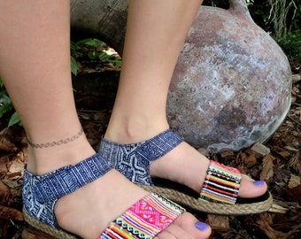 Flat Vegan Womens Sandals In Colorful Hmong Embroidery &  Deep Blue Batik - Kristy FREE Shipping