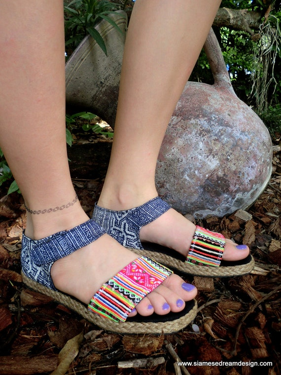 Flat Vegan Womens Sandals In Colorful Hmong Embroidery &  Deep Blue Batik - Kristy