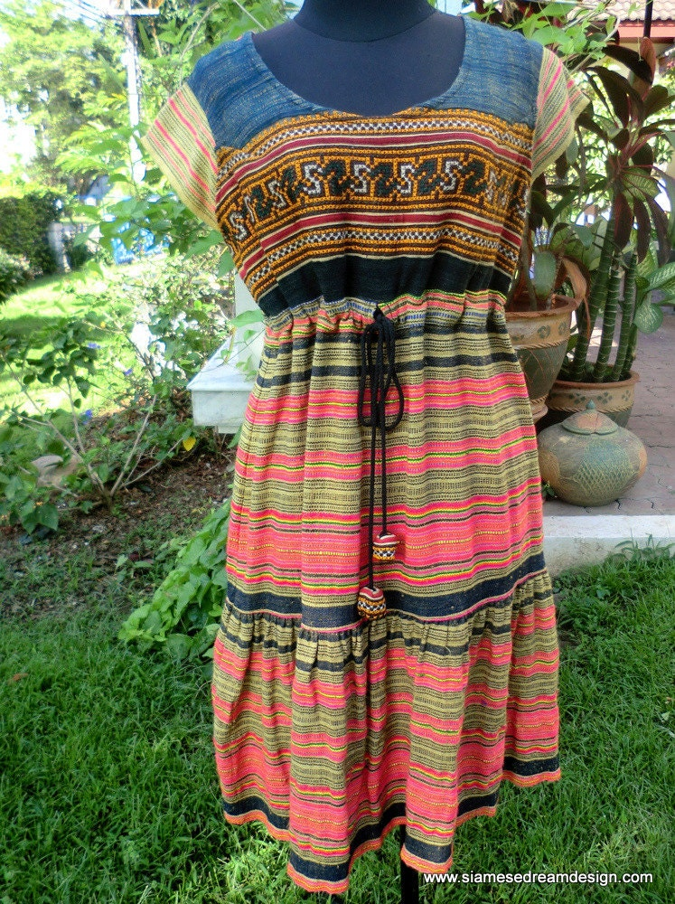 Hmong Colorful Woven Cotton Dress With by SiameseDreamDesign
