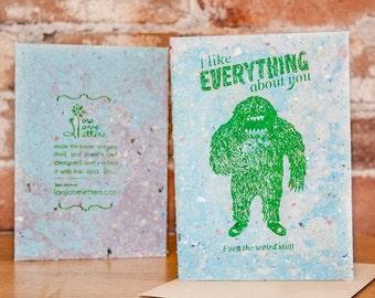 Handmade Love Card - I like everything about you
