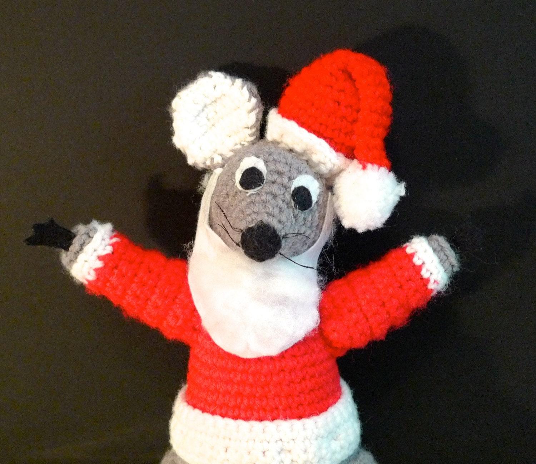 Santa Mouse amigurumi Vintage Crochet Plush Santa Christmas