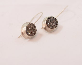Silver Drusy Earrings Set in Sterling Silver