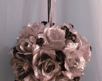 Silver And Black Flower Ball, Silver Pomander Kissing Ball, Winter Wedding, Flower Girl Bouquet
