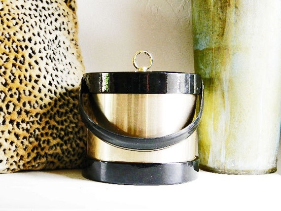 Vintage Ice Bucket-Rat Pack ROCKABILLY Mad Men Midcentury RETRO Hollywood-Black Patent Leather Gold Accent 1950's SWANKY Treasury