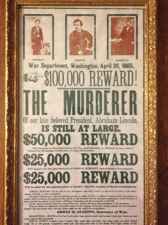 Reproduction John Wilkes Booth Wanted Poster