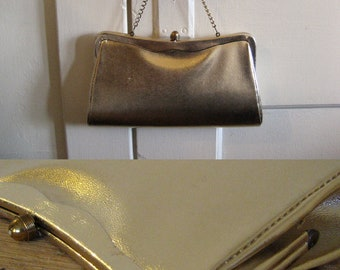 50s Party golden clutch Purse / holiday gold shimmer clutch purse with hidden chain strap orange interior