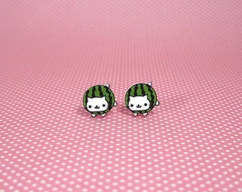 Nyan Nyan Nyanko Watermelon Small Stud Earrings