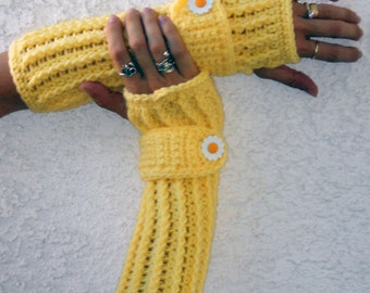 Yellow  fingerless gloves, arm warmers, texting gloves, crochet gloves, wrist warmers, hand warmers, mittens, hippie fashion, winter gloves