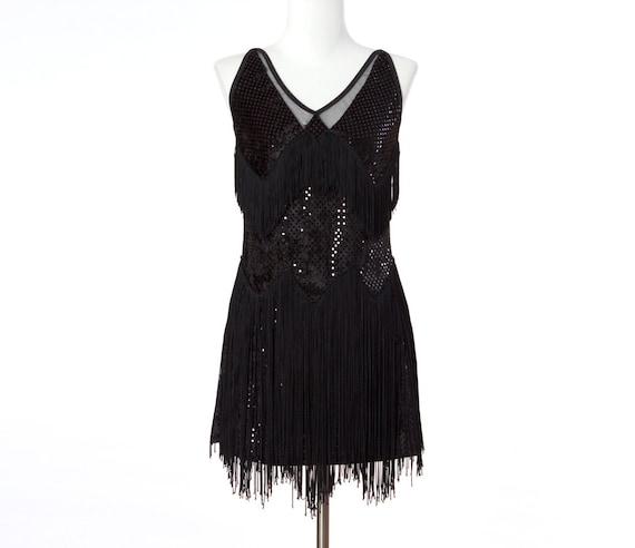 80s Vintage Dress Black Fringe Flapper Dance Costume XSmall