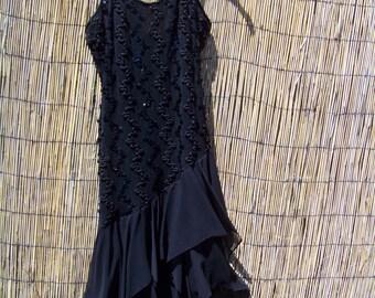 Vintage 1970's Disco Black Sequin Dress/ Size 9/10