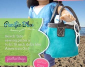 Beach Tote with vinyl handles PDF sewing pattern for 18 inch dolls like American Girl - INSTANT DOWNLOAD.