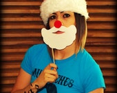 Santa's Beard Combo on a Stick- Little Man Party-Photo Props-Photo booth-Mustache on a Stick-Christmas Photo Props