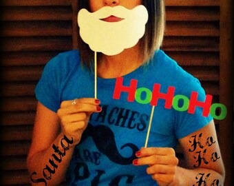 Santa's Beard and HoHoHo on a Stick- Little Man Party-Photo Props-Photo Booth-Christmas Props-Santa Beard on a stick-Mustache on a Stick