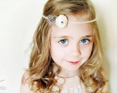 Newborn Headband Photo Prop: Mohair Tieback, Halo, Crown, Natural, Tribal, Rustic, Feathers, Girl Photography Props