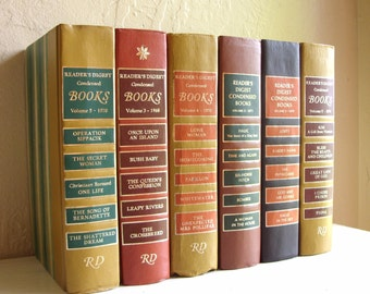 Collection of Books in Earth Tones Home Decor Orange Mustard Yellow Navy Blue