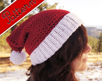 Crocheted Classic Santa Elf Hat with Elf Ears Pattern PDF