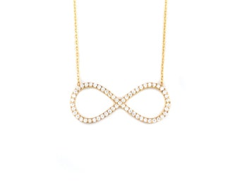 Free Domestic Shipping Sterling Silver with Gold Color Infinity Necklace Gold, Infinity, Eternity, Love, Gift, for Her, Girlfriend, Necklace
