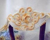 Orange and White Crocheted Pillowcase, Hand Crocheted Pillow Cover, Keepsake Needlecraft
