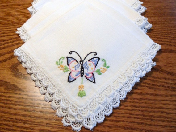 Butterfly Napkins, Six Hand Embroidered Dinner Napkins with Tatted Edge, Heirloom Linens