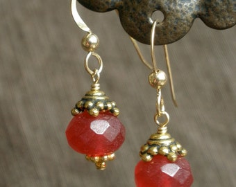 Faceted Raw Ruby Earrings with Gold-Filled Accents