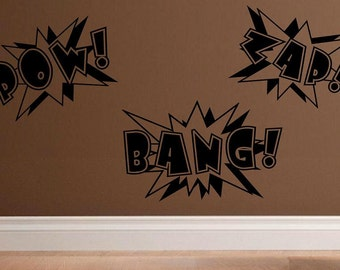 wall decal Super hero comic book words Pow Bang Zap kids decal nursery decal boys decal kids decor nursery decor superhero decal vinyl decal