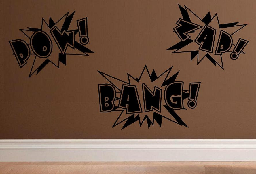 Wall Decal Super Hero Comic Book Words Pow Bang Zap Kids Decal - Vinyl wall decals books