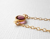 Purple Crystal Necklace, Gold Necklace - Amethyst Dark Purple Tiny Solitaire Framed Link Connector - Mom Sister Wife - Jewelry Swarovski