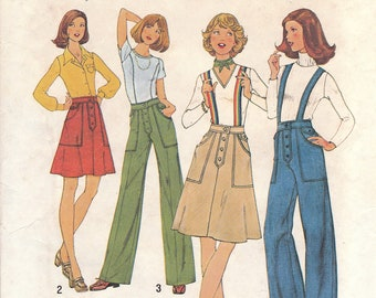 70s A-Line Skirt & Flared Pants Pattern Simplicity 7141 Size 6