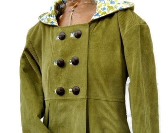 Swing Coat in Corduroy Wool or Tweed Optional Hood Fully Lined Jacket for Warm Winter Outerwear