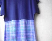 Plaid Purple Blue Aqua Mini Tunic Dress/ Funky Stretch Knit Jumper Dress XS-L