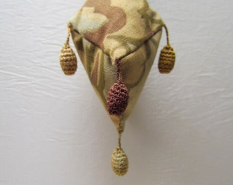 Antique pin cushion with crocheted tassels and early 1900's fabric, Victorian pin cushion