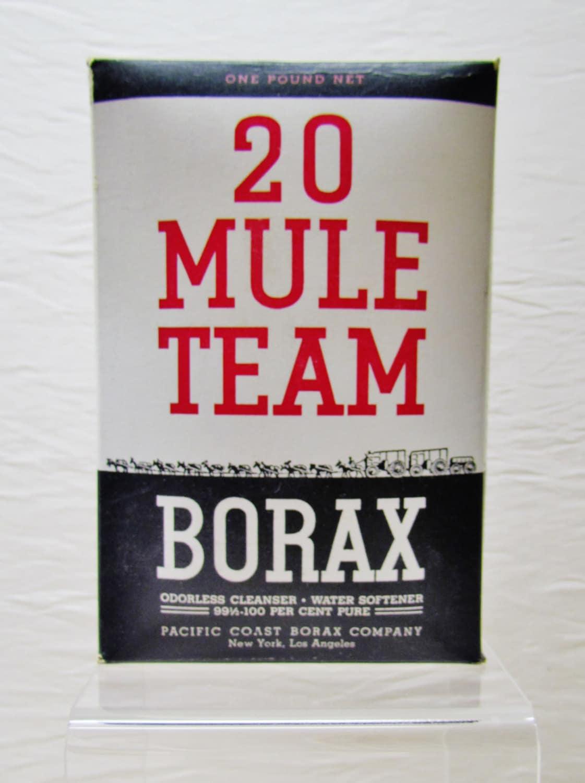 Vintage 20 mule team borax box cleaning product for 20 mule team borax swimming pools