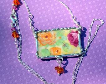 Broken China Jewelry, Mosaics Jewelry, Pink and Orange Chintz China, Sterling Silver Chain