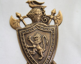 Royal Shield Knight Brass Gold Weapon Shield Medieval Lion Ornament Stamping Bronze Renaissance Crest