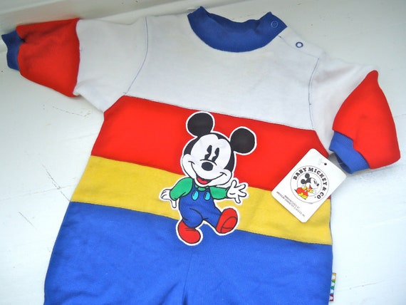 RESERVED    //         Vintage Baby Disney Mickey Mouse Romper Sweat Suit 6 months 9 months 12 months Baby Walt Disney Toddler Striped Warm